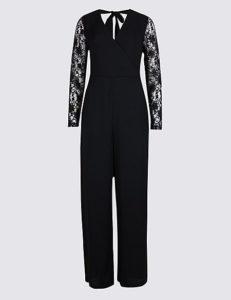 Wrap lace sleeve jumpsuit